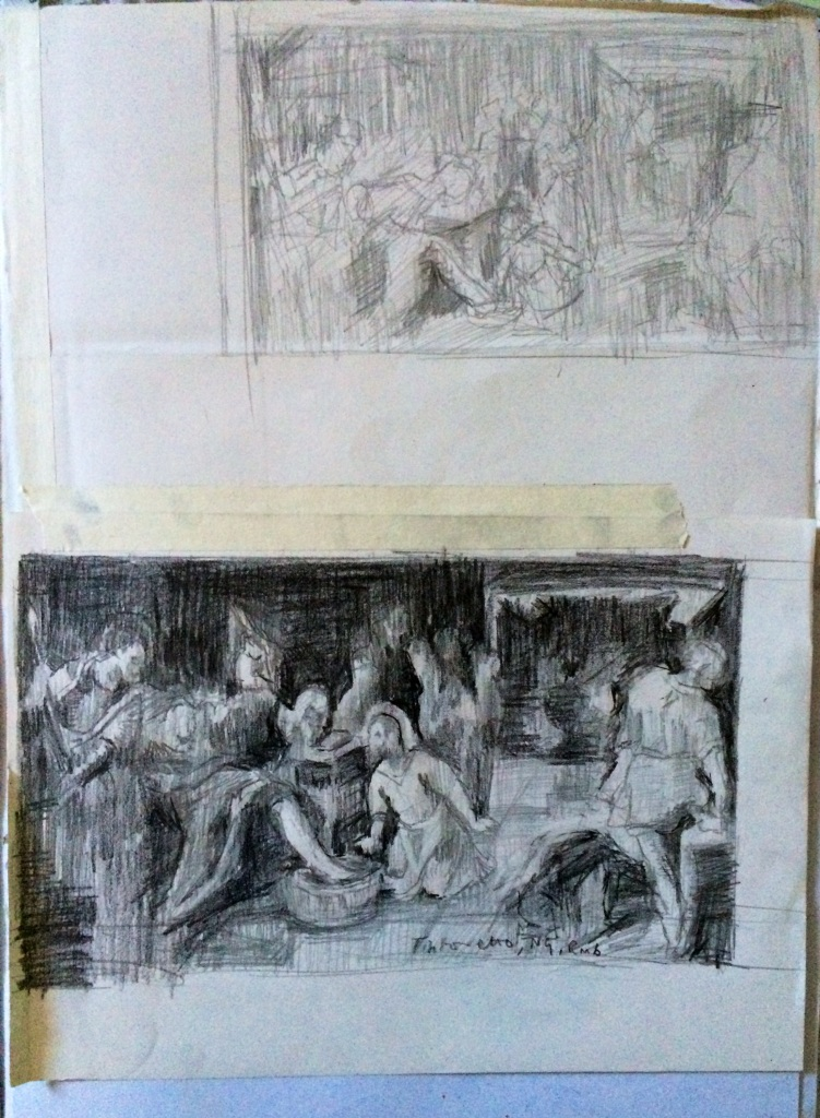 After Tintoretto: Christ Washing the Feet of the Disciples. Sketchbook page, HB pencil on paper, Charlie Kirkham 2014.