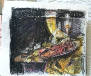 """""""After Willem Kalf: Still Life with Drinking Horn"""", Charlie Kirkham, watercolour pencil on paper, 2015."""