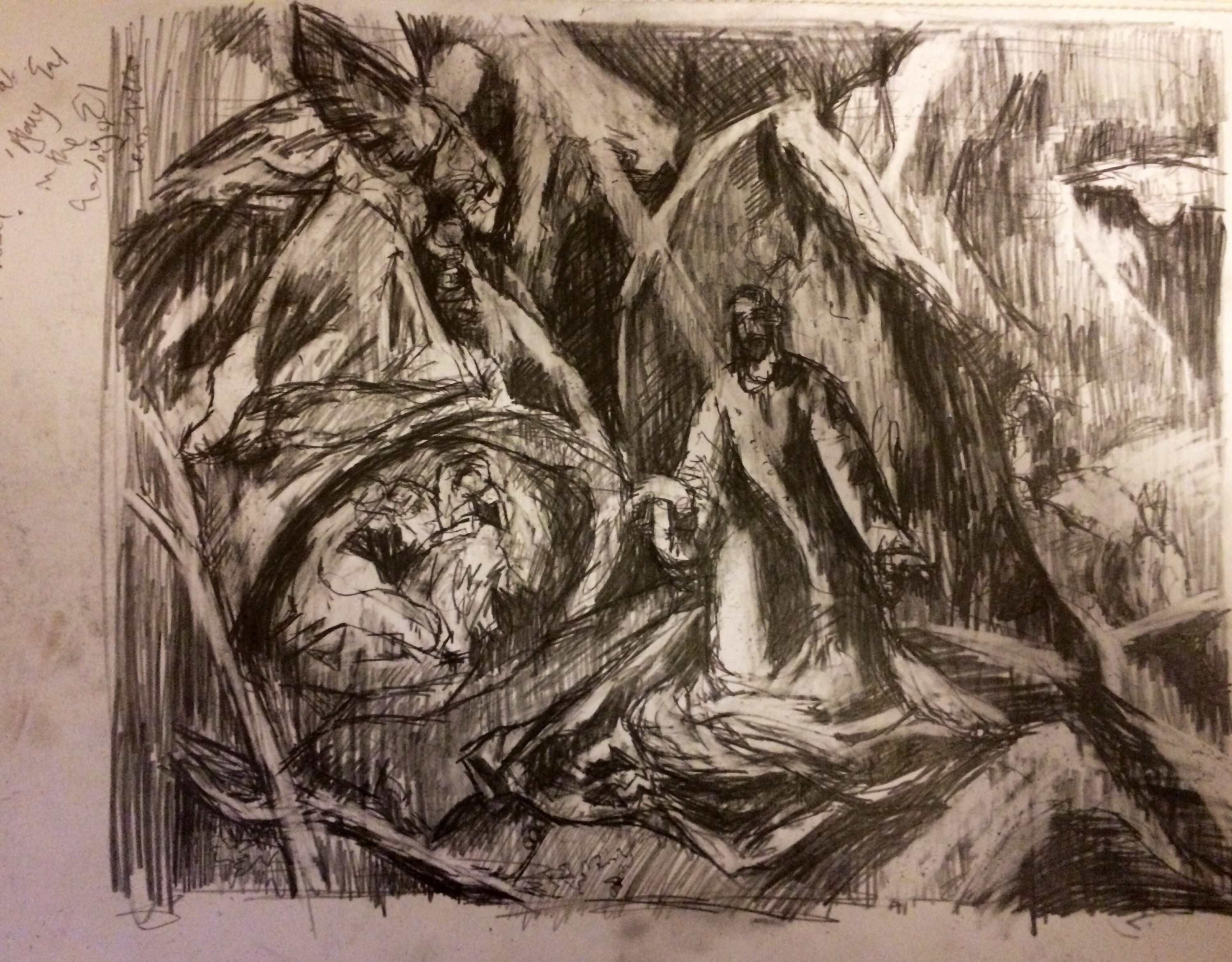 """After El Greco: Agony in the Garden"", pencil on paper, A3 sketchbook page, Charlie Kirkham, 2015."