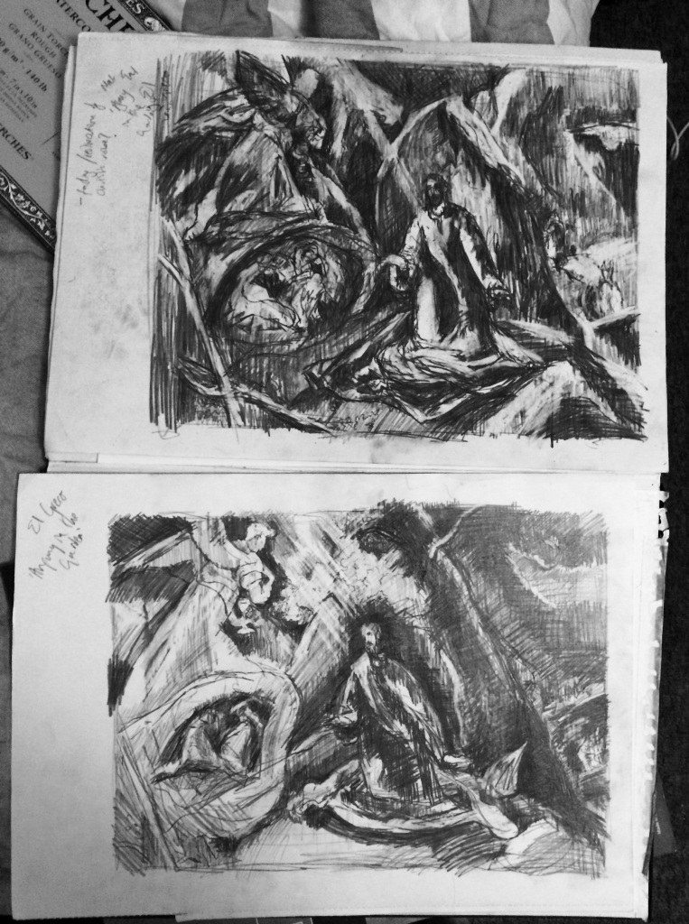 """After El Greco: Agony in the Garden versions 1 and 2"", pencil on paper, A3 sketchbook page, Charlie Kirkham, 2015."
