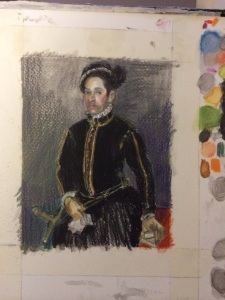 """After Moroni Portrait of a Gentleman, 1564"", watercolour pencil on paper, 6x4"", Charlie Kirkham 2015."