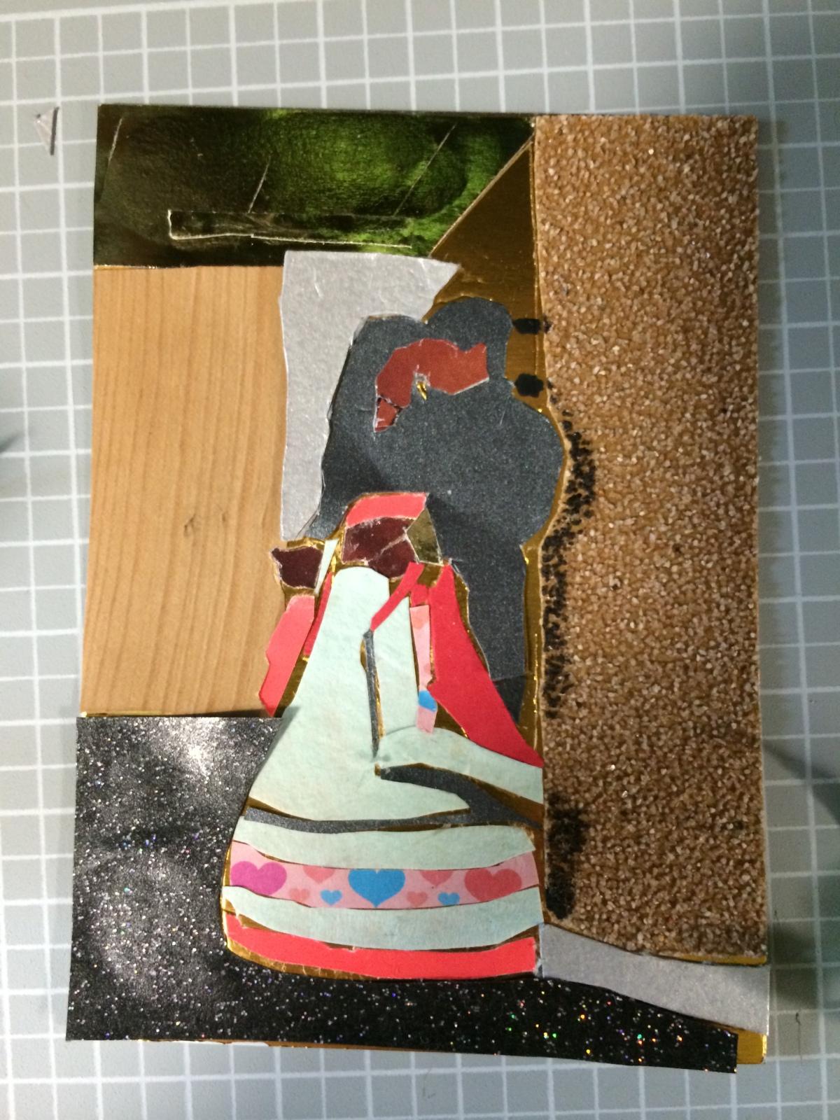 "Creating ""Wedding Dance"" collage on board, 6x4"", Charlie Kirkham 2014."