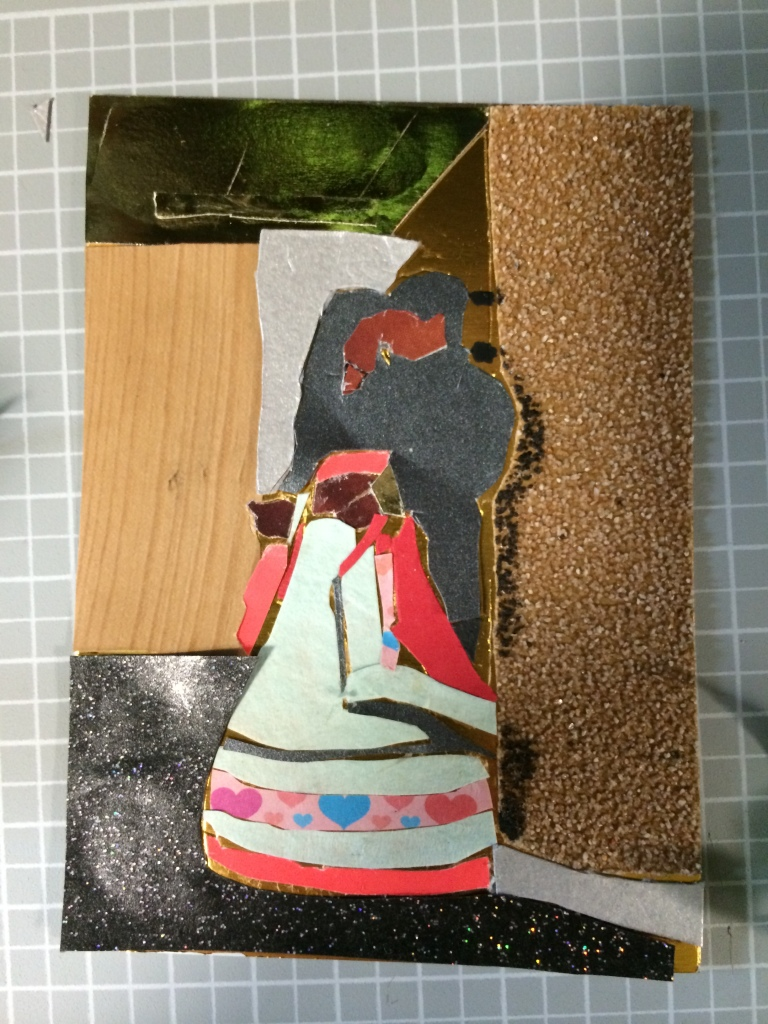 "Creating ""Wedding Dance"" collage on board, 6x4"", Charlie Kirkham 2014."