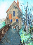 """Littlebourne, Canterbury"". paint marker on paper, 20x26cm, Charlie Kirkham, 2016."