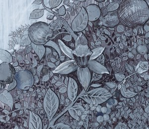 "Detail from ""Dorethea's Apple Tree"", 100 x 100 cm, ink & acrylic on paper, Charlie Kirkham 2015."