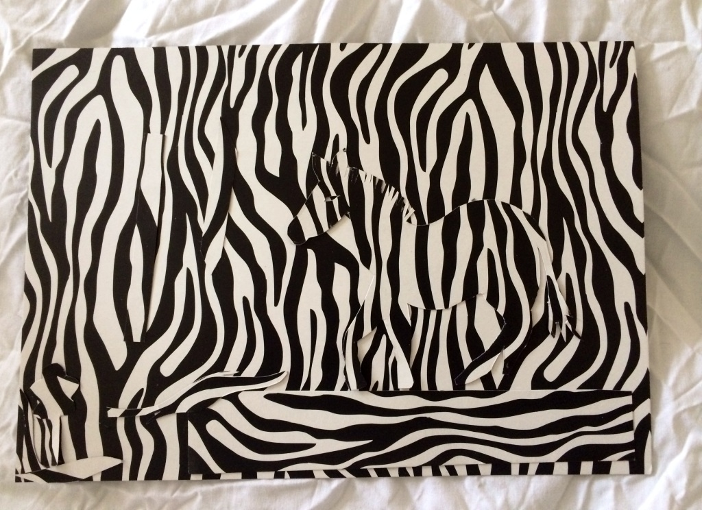 """Zebra Collage"", 21x29cm, cardboard collage, Charlie Kirkham 2015."