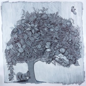 """Dorothea's Apple Tree"", acrylic and ink on paper, 100 x 100 cm, Charlie Kirkham 2015."