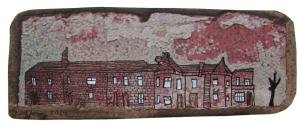 """""""Brick 1"""", acrylic and ink on coloured paper. 6x2"""", Charlie Kirkham 2015."""