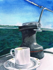 """Coffee by the Winch"", watercolour on watercolour board, 21x 30 cm, Charlie Kirkham 2016."