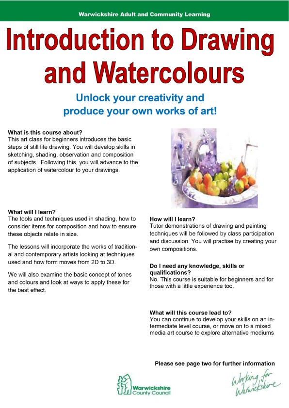 Intro to Drawing & Watercolours -1