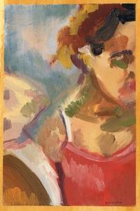 """""""Jasmine"""", oil on paper, 6.5x9"""" (framed), Charlie Kirkham 2015. Exhibited in the ING Discerning Eye 2017."""