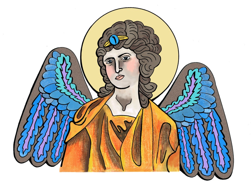 """Orange Angel with Blue Wings"", Ink & coloured pencil on paper, 6 x 8"", Charlie Kirkham"
