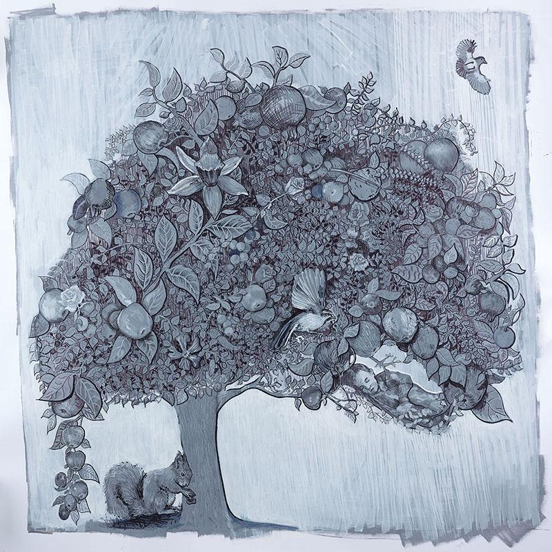 """St. Dorethea's Apple Tree"", paint pen and ink on paper, 100 x 100 cm, Charlie Kirkham 2016"