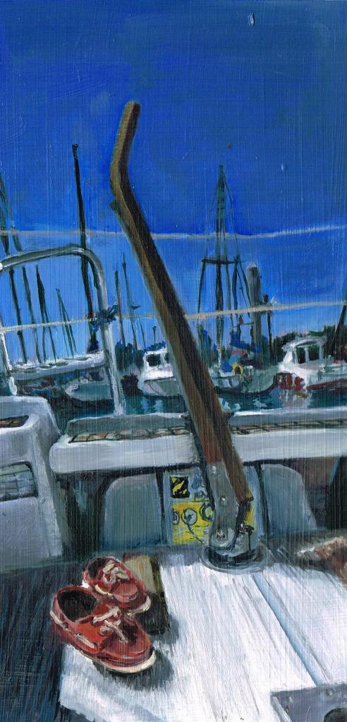 """St Cast Harbour"", 25 x 13cm, oil on board, Charlie Kirkham 2016"