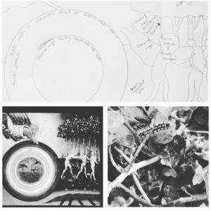 My rough sketch exploring the initial ideas, the di Paolo painting and a close up shot of leaves and a caterpillar